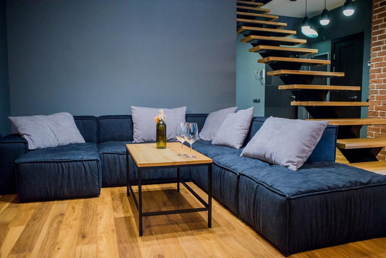 формы синих диванов