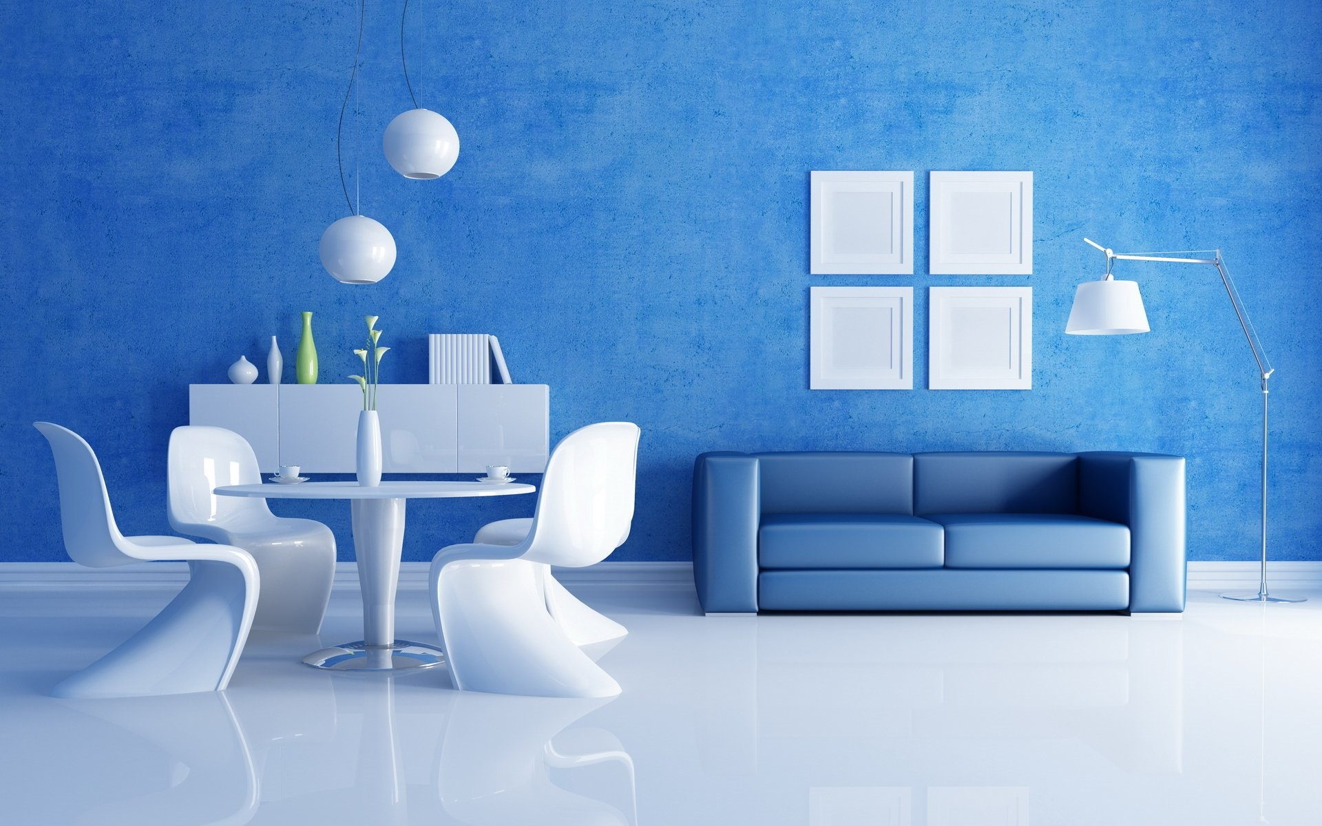 кожаный синий диван