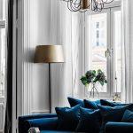 синий диван с тторшером