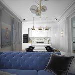 синий диван вблизи