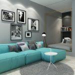 синий диван светло голубой