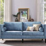 синий диван с птицей