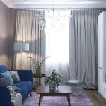 синий диван со столиком