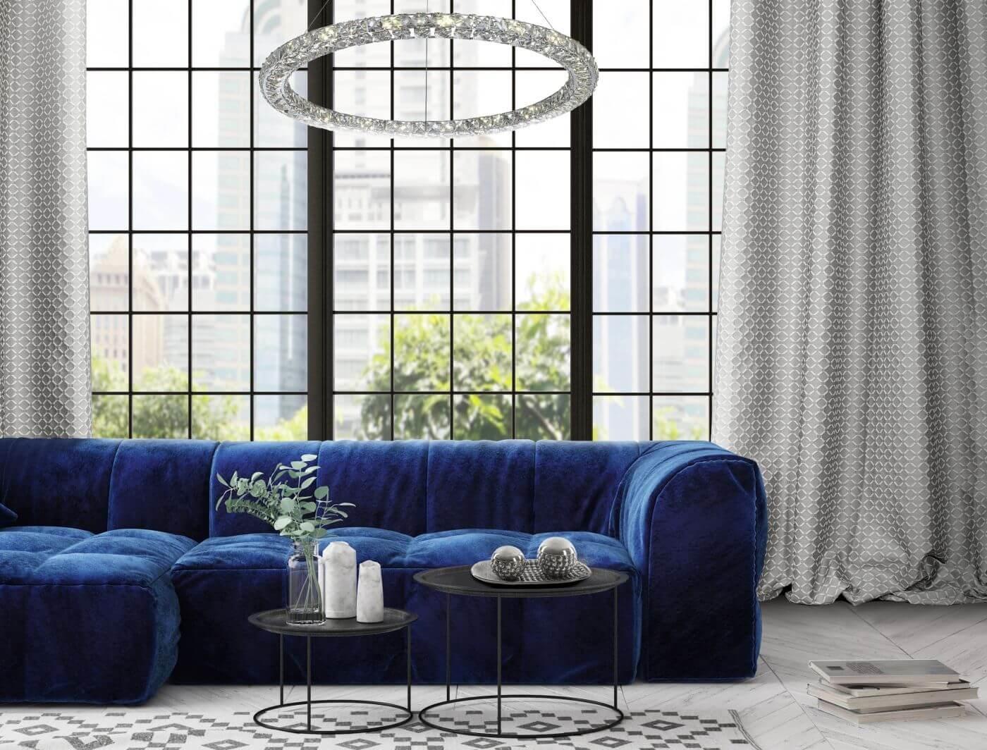 синий диван в столовой
