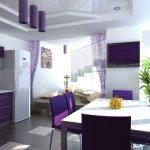 цвета в интерьере фиолетовая кухня