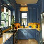 цвета в интерьере кухня синяя с желтым