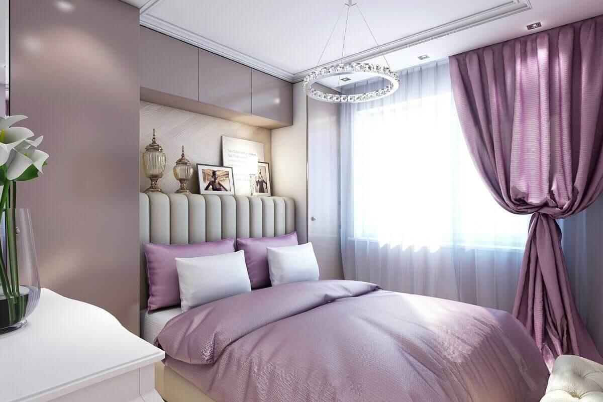 фиолетовый оттенок в спальне