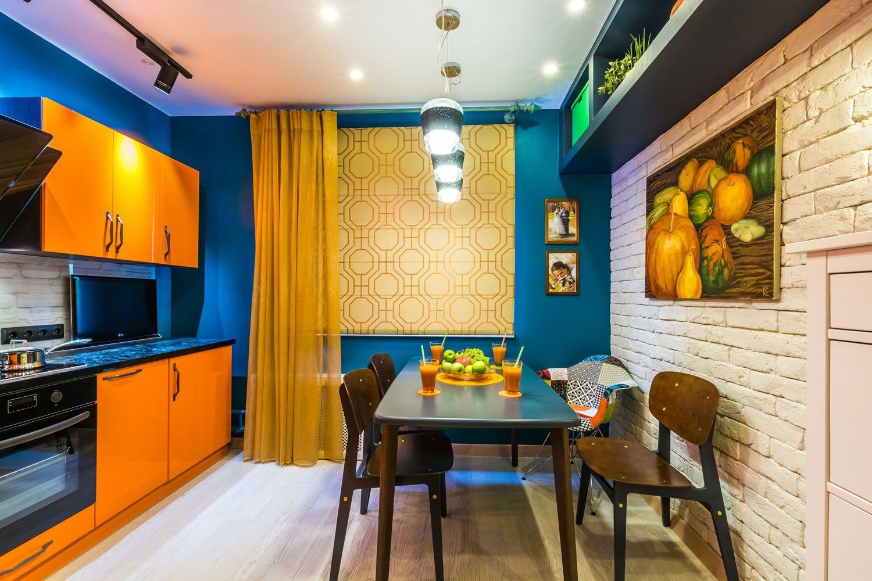 оранжевый цвет на кухне