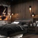 спальня лофт с черной мебелью