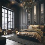 спальня с черной мебелью в стиле арт-деко
