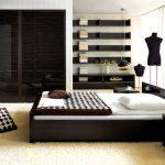 спальня с черной мебелью в стиле хай-тек