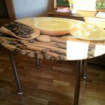 стол из секла с фотопечатью