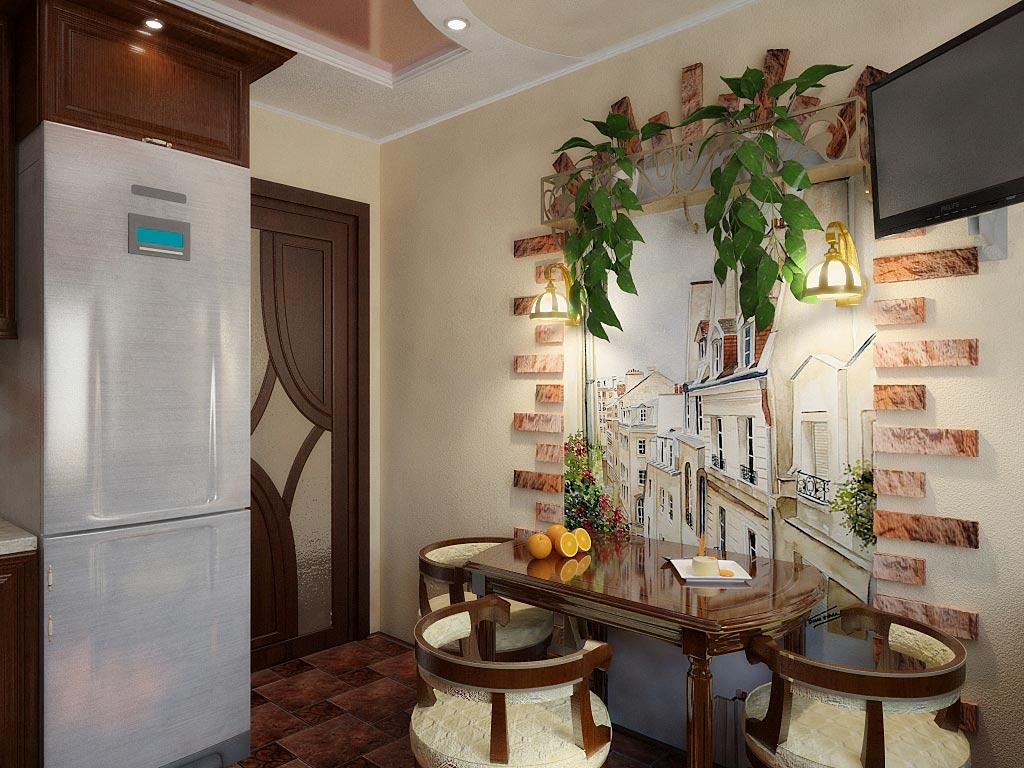 стена на кухне возле стола