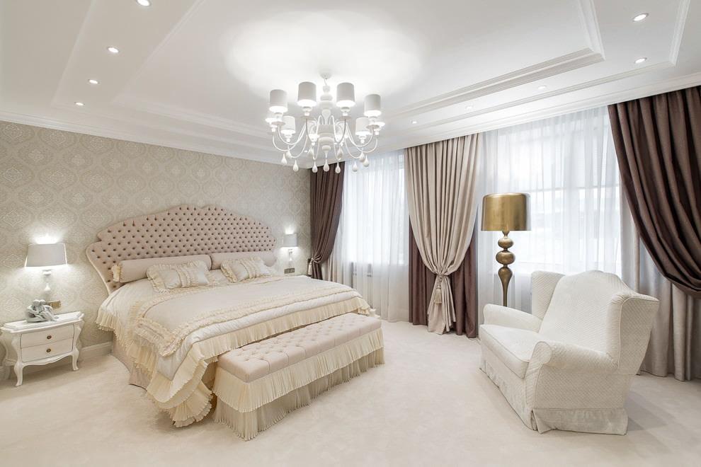 светлая спальня со светлой мебелью дизайн