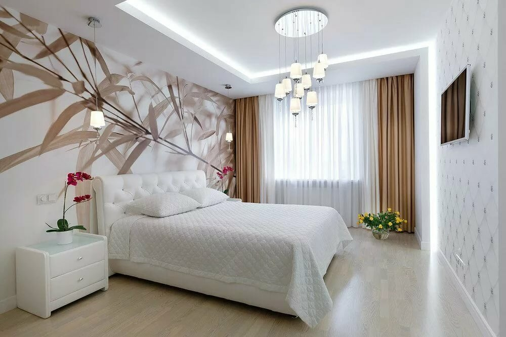 светлая спальня со светлой мебелью идеи интерьер