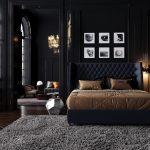 темная спальня с картинами в интерьере