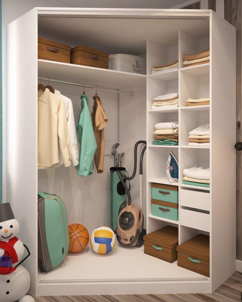 трапециевидный встроенный шкаф
