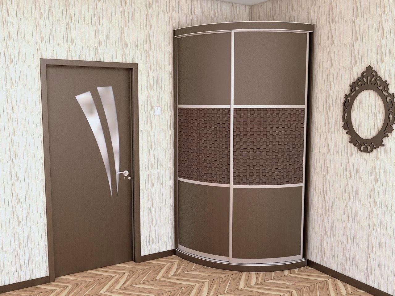 радиусный встроенный угловой шкаф