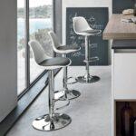 барный стул серый на подставке