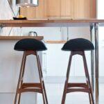 барный стул черный с коричневым