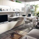 белая стенка с компьютерным столом
