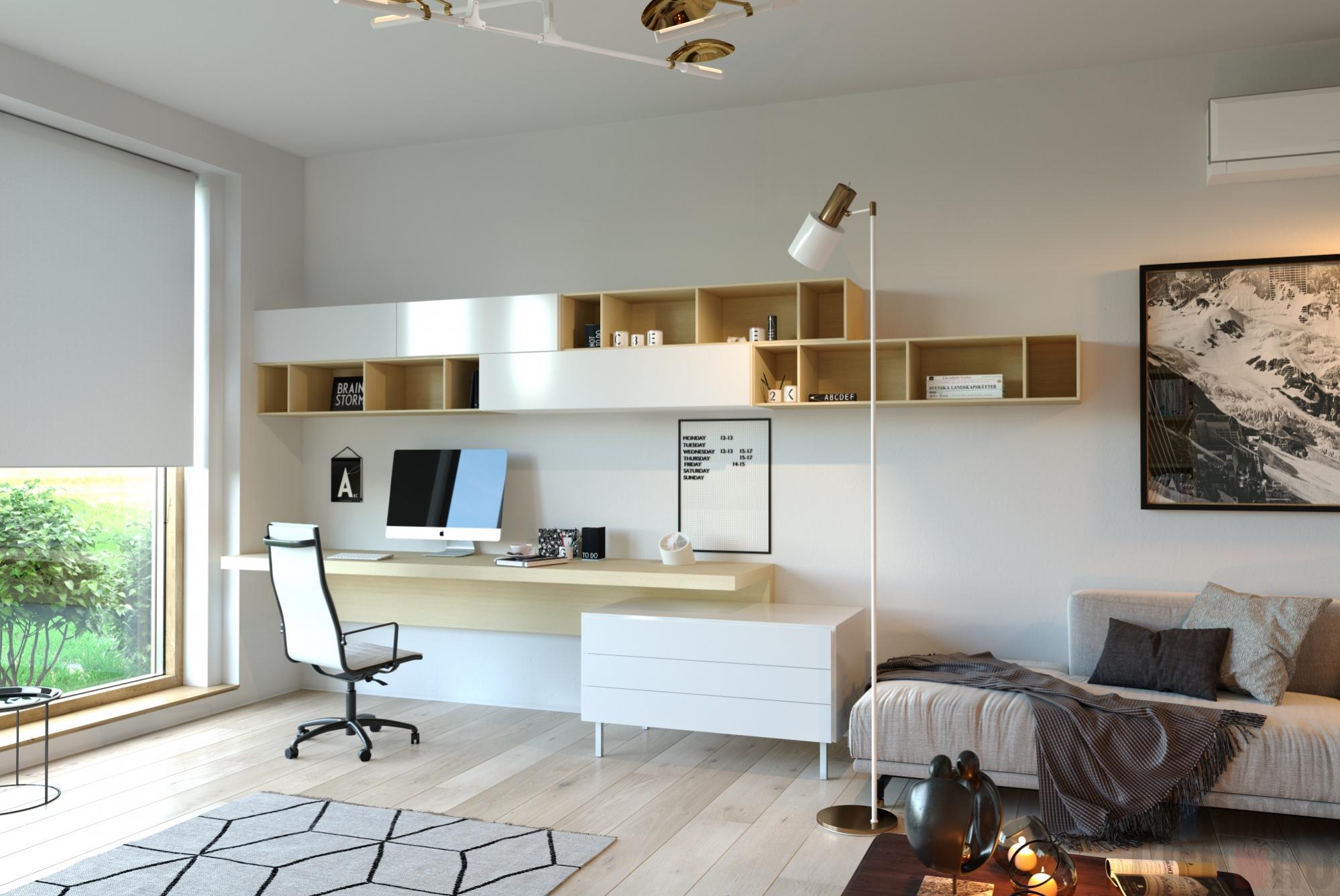 компьютерный стол в гостиной решение фото делать