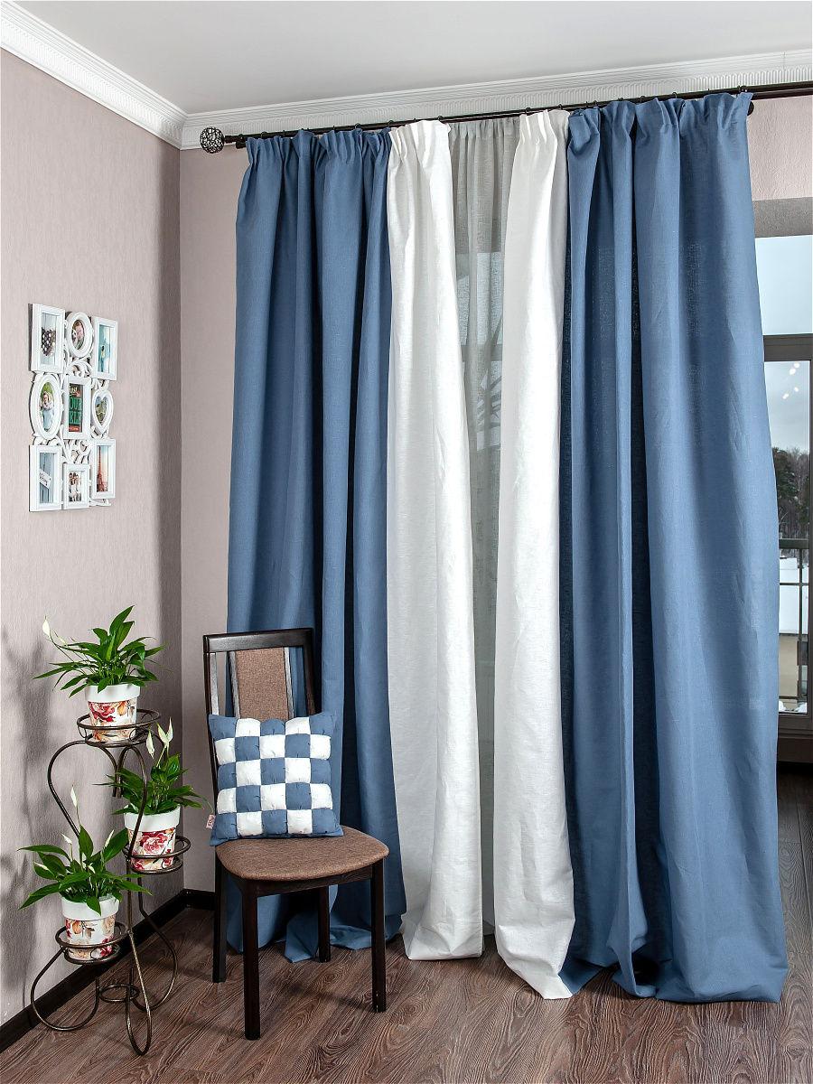 бело-голубые шторы в интерьерах
