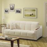 белый кожаный диван с пейзажем