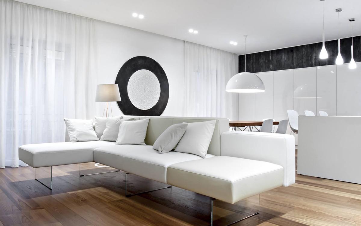 зонирование диваном помещения