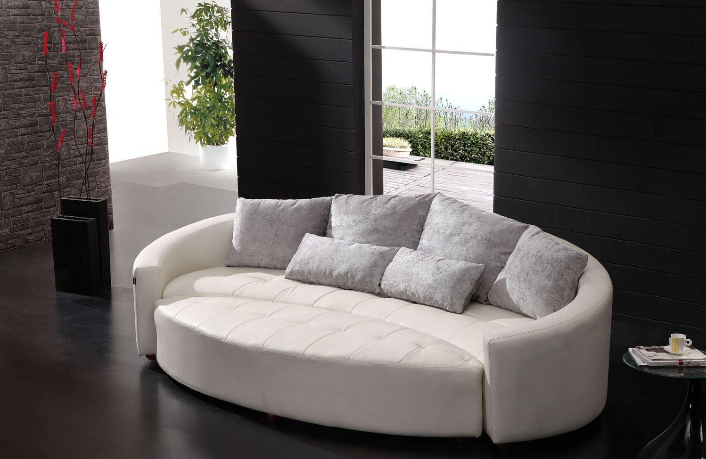 круглый белый диван