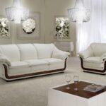 белый кожаный диван с коричневой отделкой