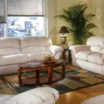 белый кожаный диван с деревянным столом