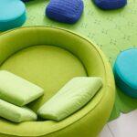 зеленый диван круглый