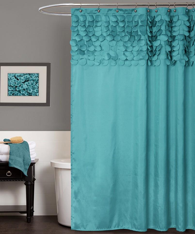 бирюзовая штора в ванной
