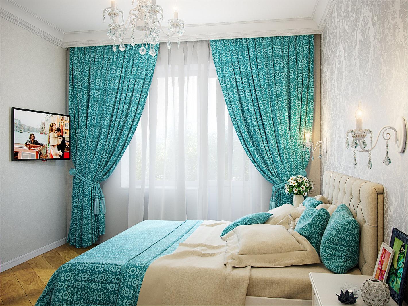 бирюзовые гардины в спальню