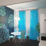 яркие бирюзовые шторы на кухне