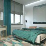 бирюзовые шторы в интерьере спальне