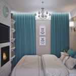 бирюзовые шторы в маленькой спальне