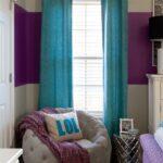 бирюзовые шторы на узкое окно