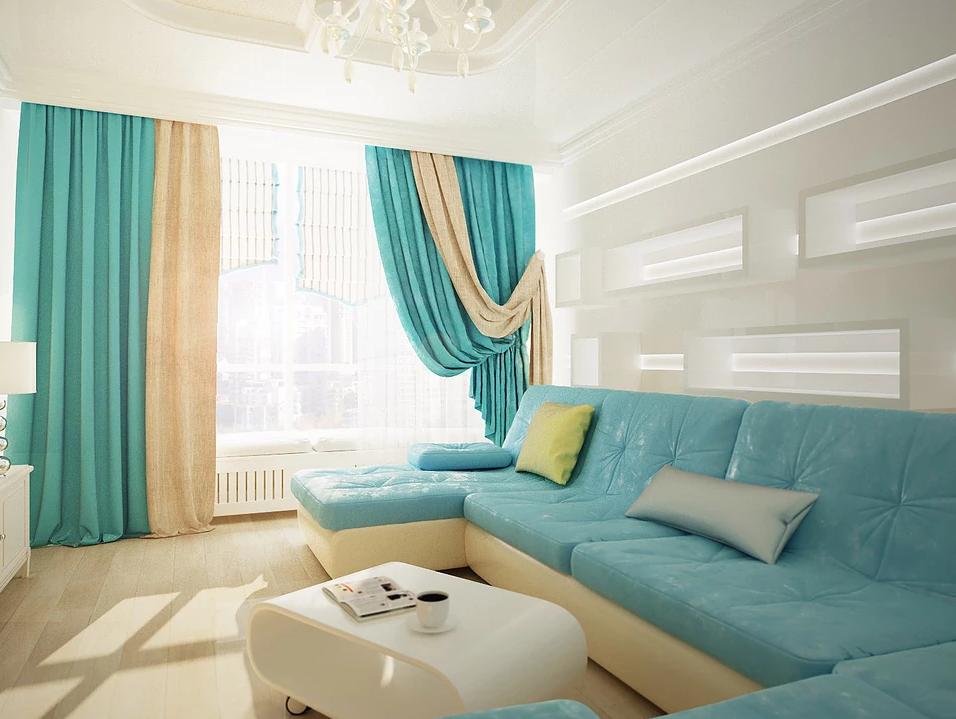 бирюзово бежевые шторы в комнате