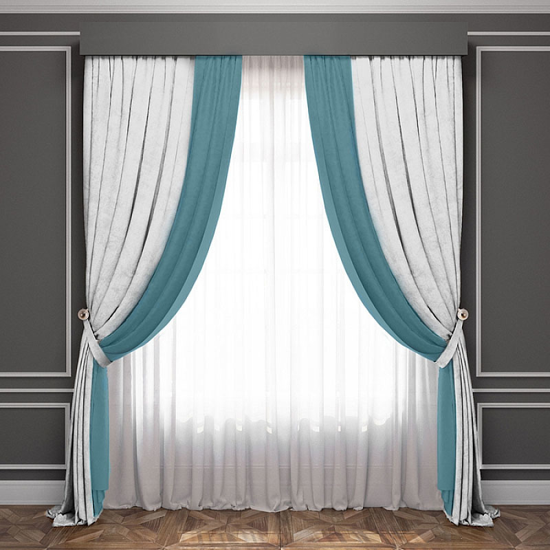 бирюзово белые шторы в комнате