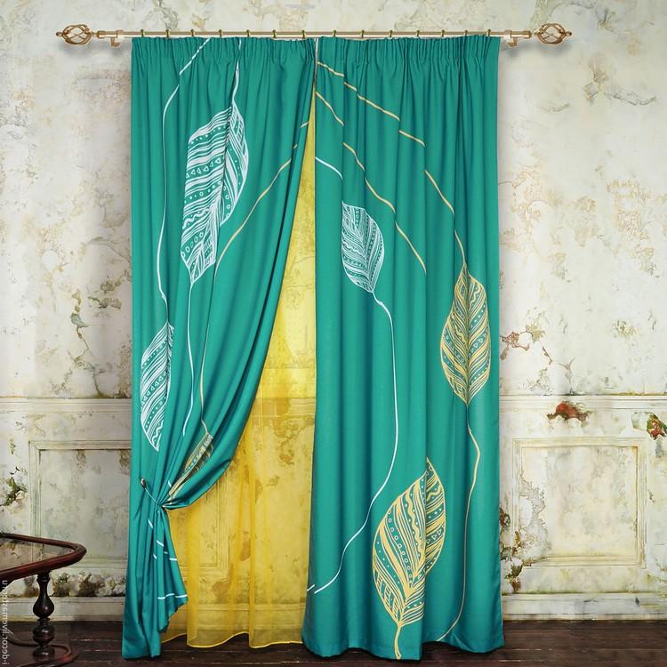 бирюзово желтые шторы