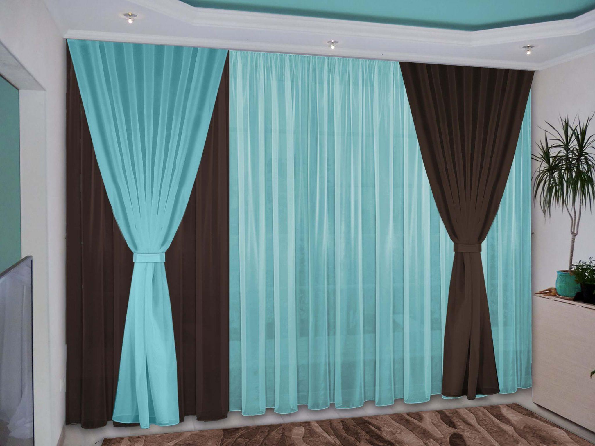 бирюзово коричневые шторы