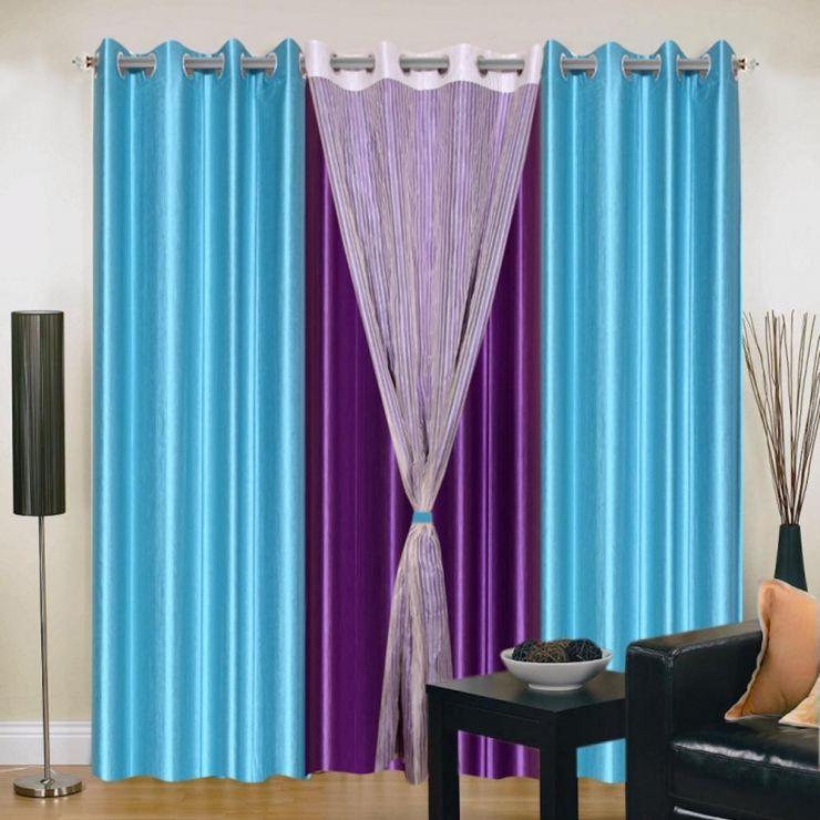 бирюзово-фиолетовые шторы в комнате
