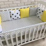бортики для кровати желтые с серым
