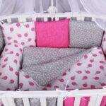 бортики для кровати розовые с серым