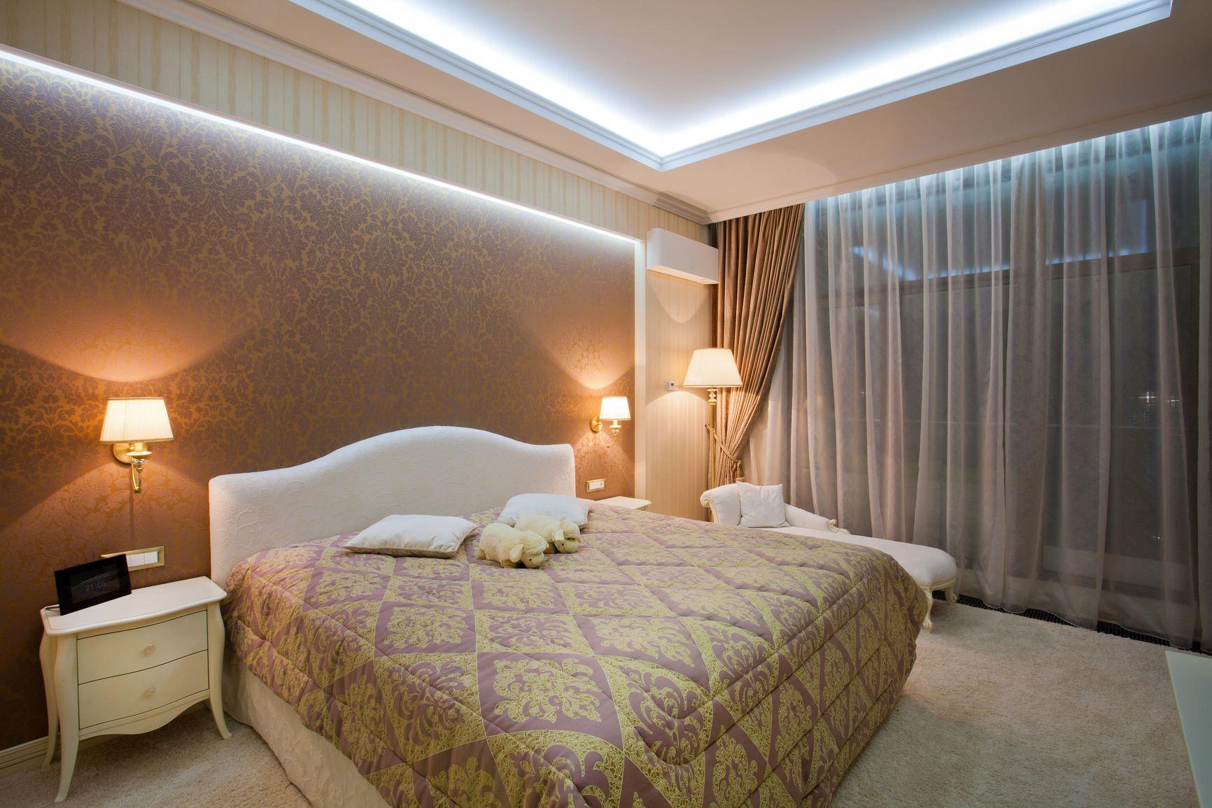 освещение в спальне фото дизайн