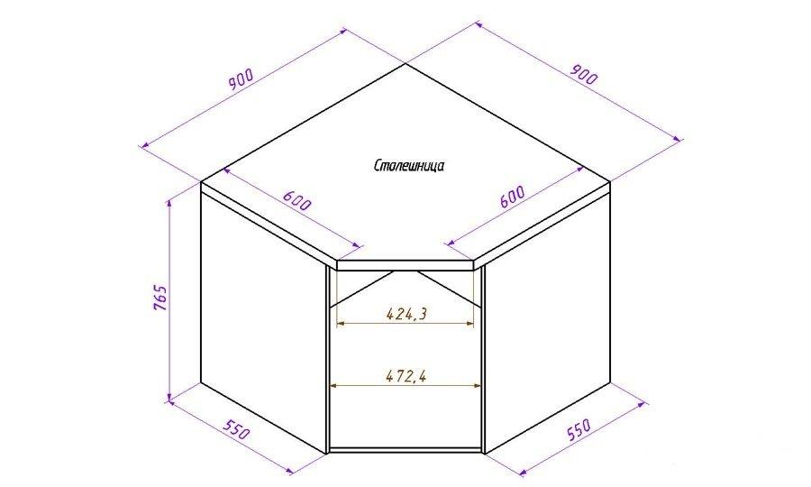 чертеж тумбы под мойку