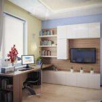 белая низкая стенка с компьютерным столом