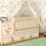 детская кровать с балдахином и шкафами